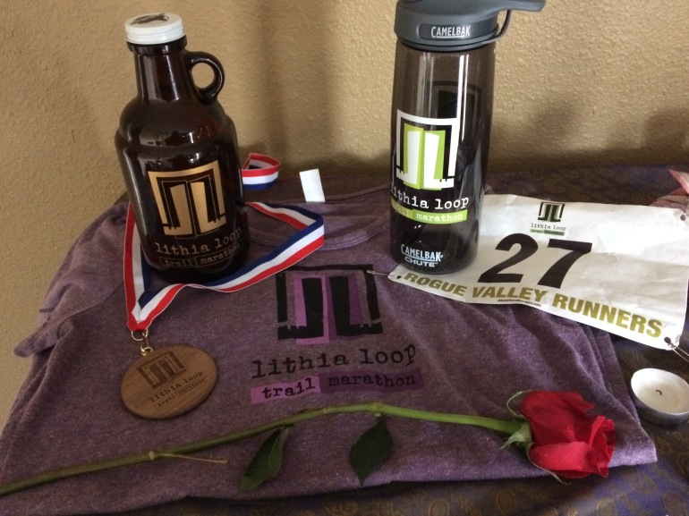 Cute t-shirt, baby growler, water bottle and wooden medal. I was stoked to get bib #27 because 7 and 9 are my lucky numbers, and 7 + 2 is 9 ;)