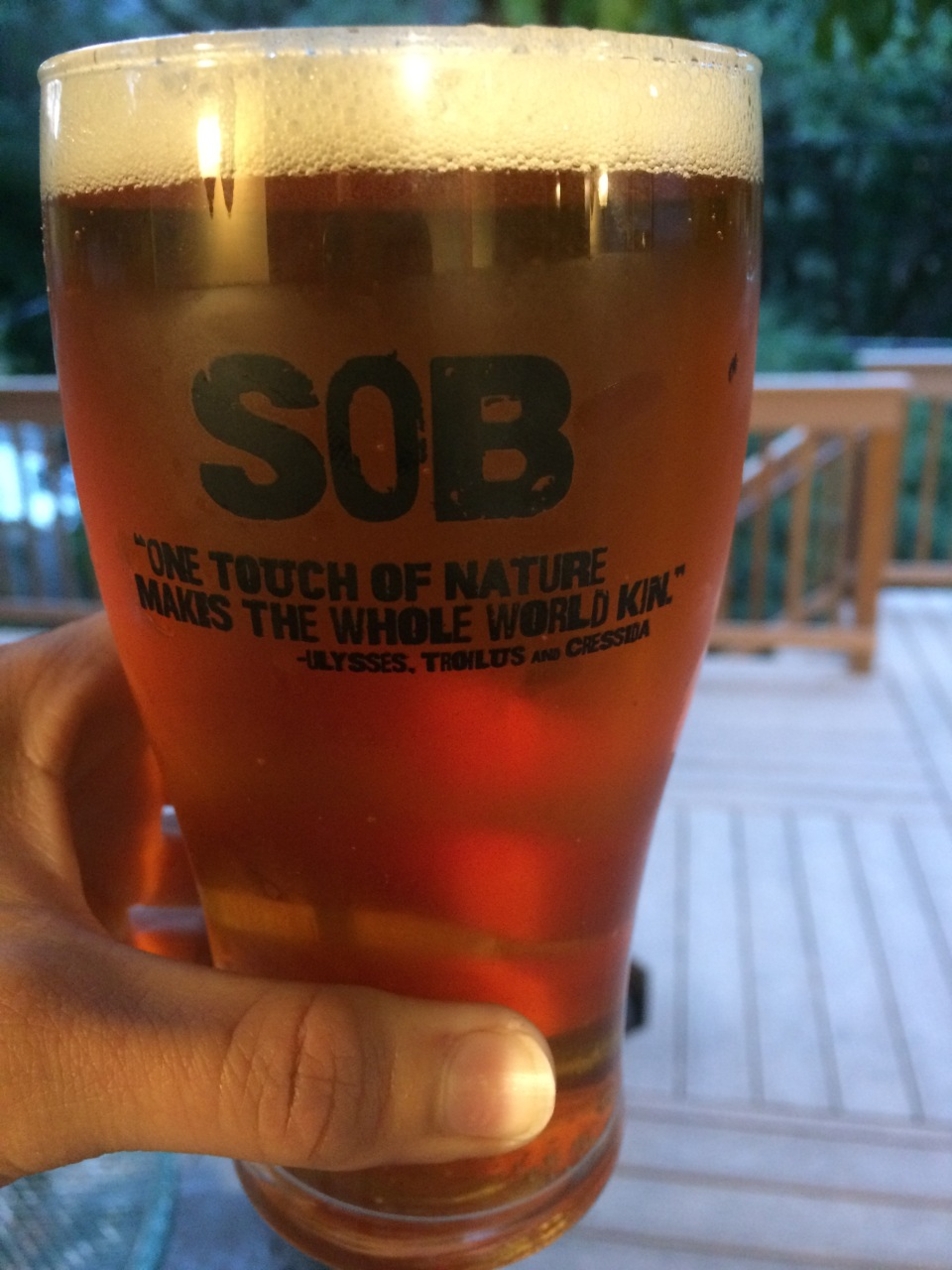 Siskiyou Outback pint glass Shakespeare beer