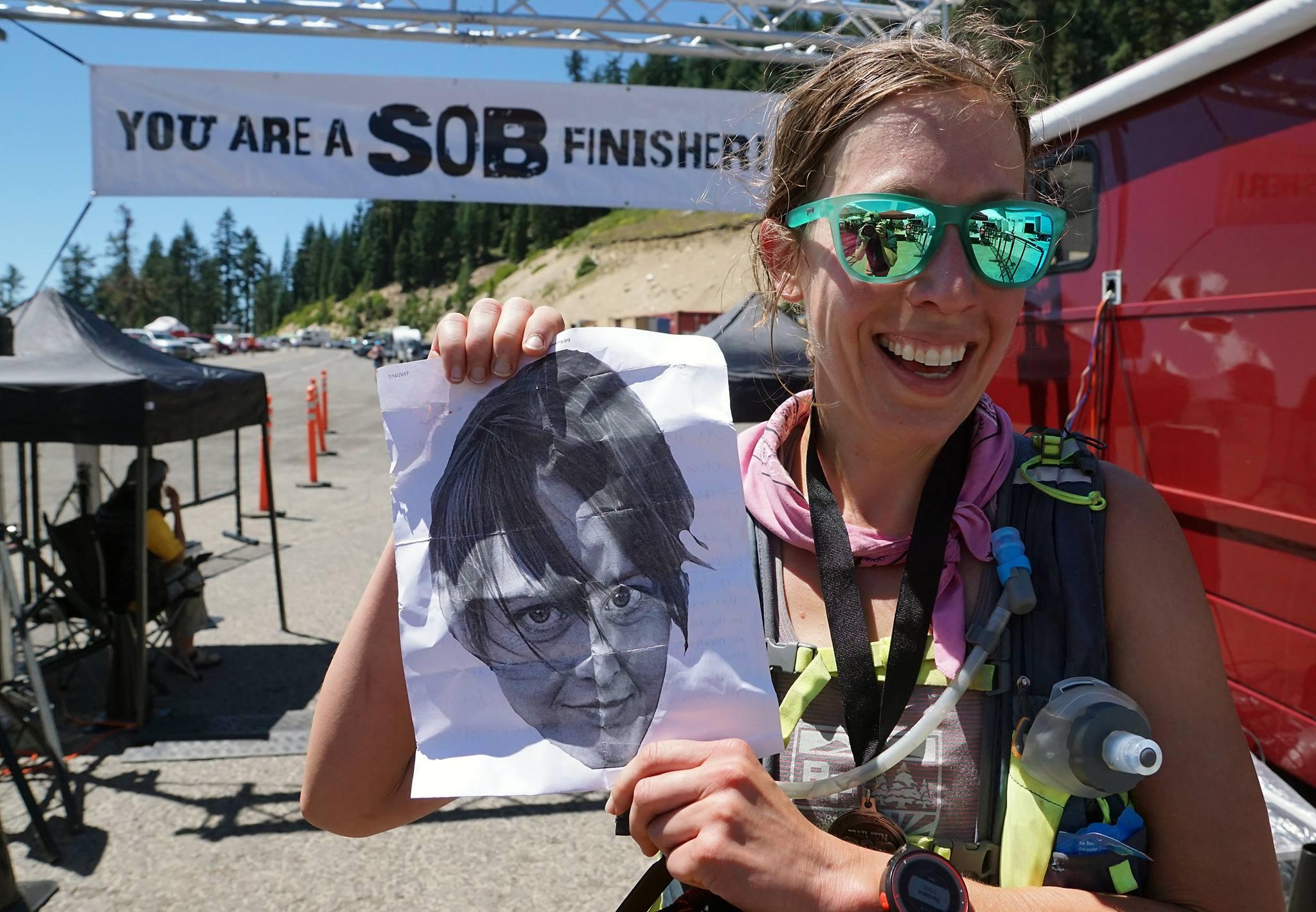 SOB 50k finish Jenn Shelton head