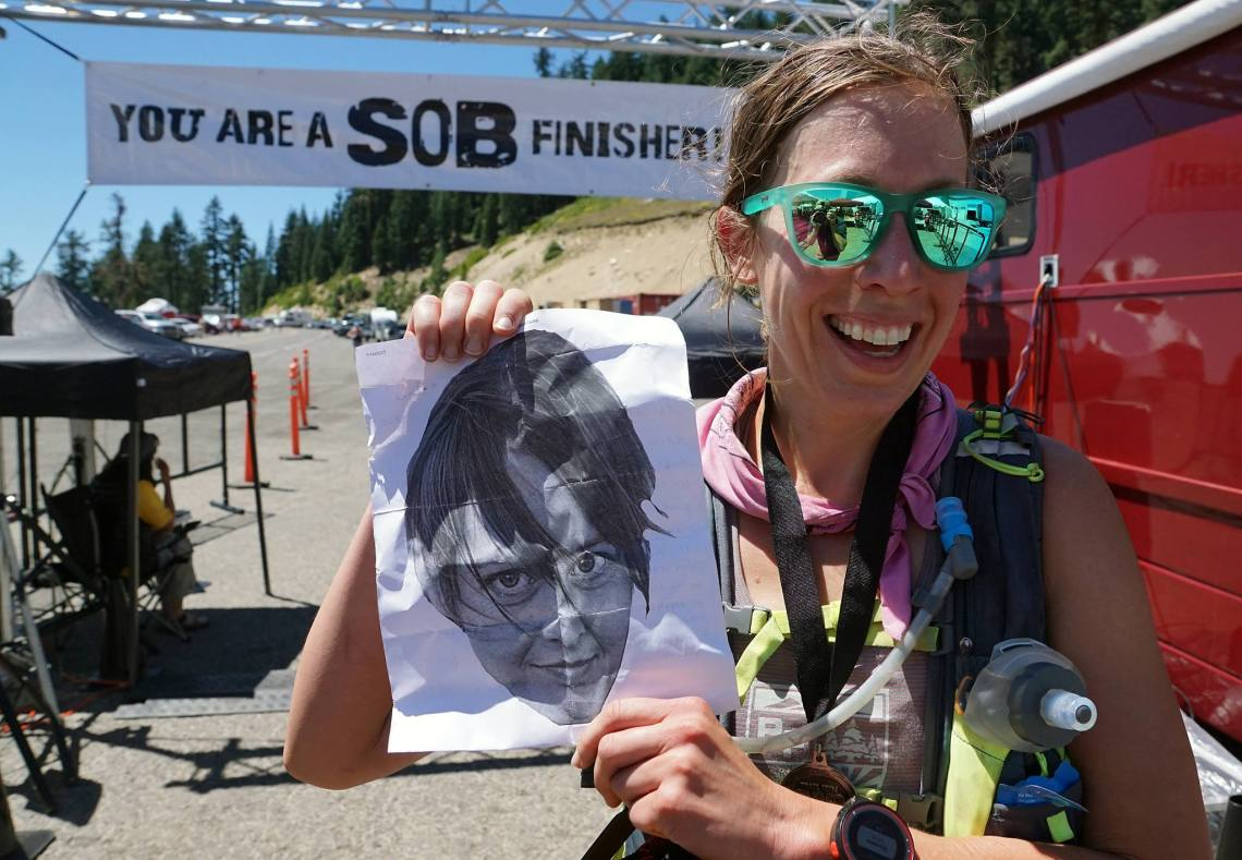 SOB 50k finish Jenn Shelton head