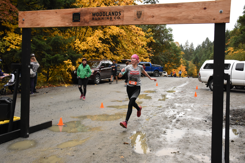 me running through finish line