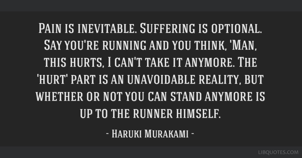 Pain is inevitable suffering is optional