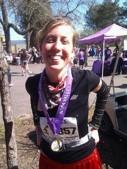 me smiling at the Napa Valley Marathon finish