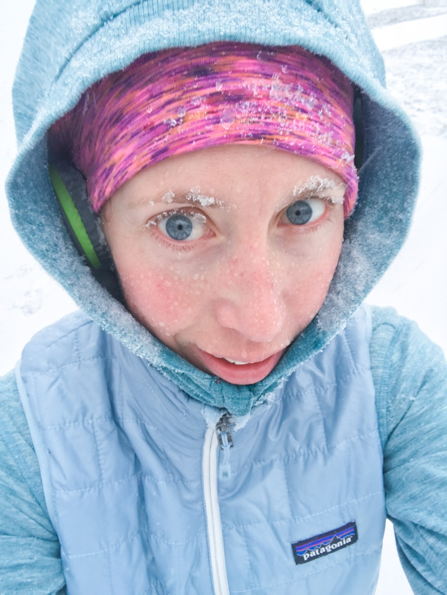 runner girl with snowflakes in eyebrows