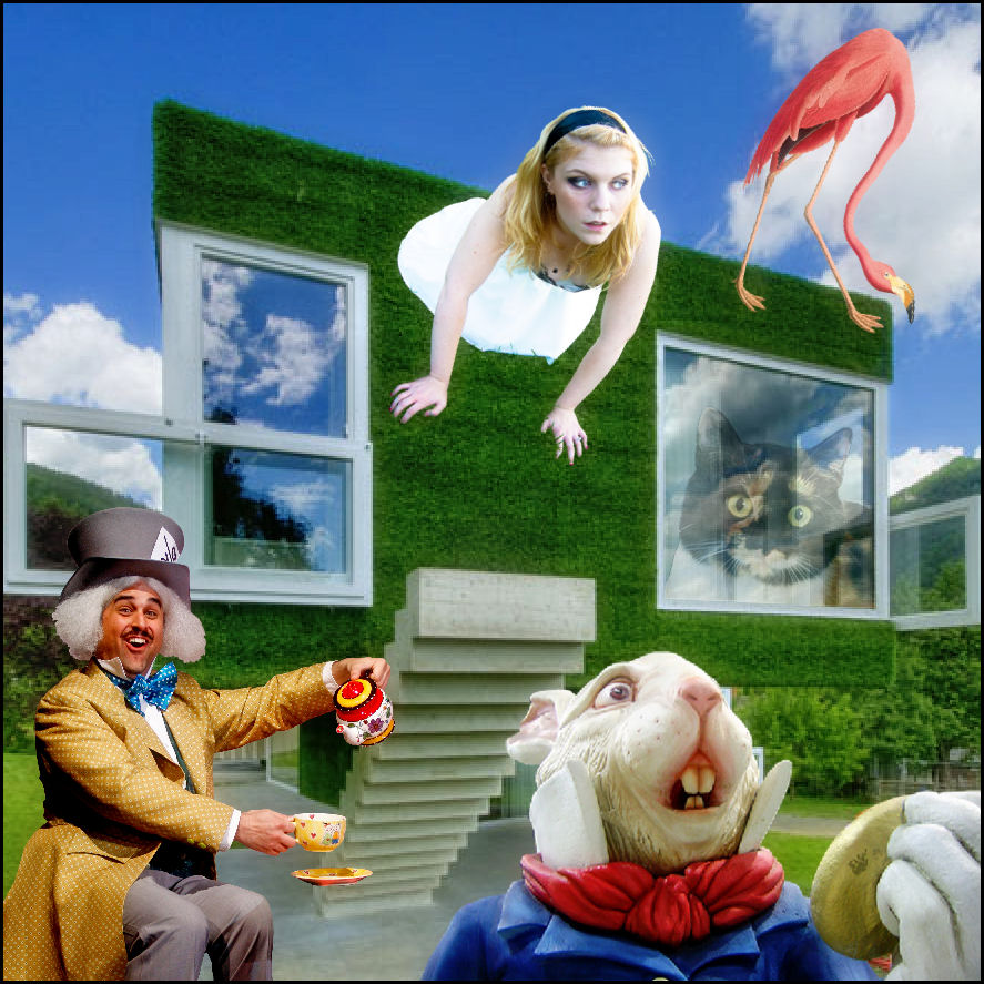 Alice in Wonderland collage featuring Alice, the Mad Hatter, the White Rabbit, a cat, and a flamingo